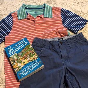 J Khaki Striped Polo Shirt Shorts Combo M 8R